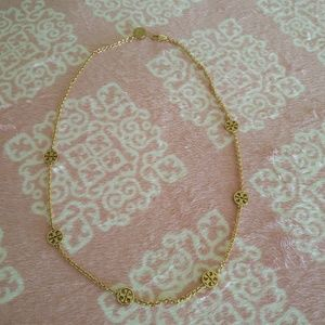 Tory Burch Short Delicate Logo Rosary Necklace